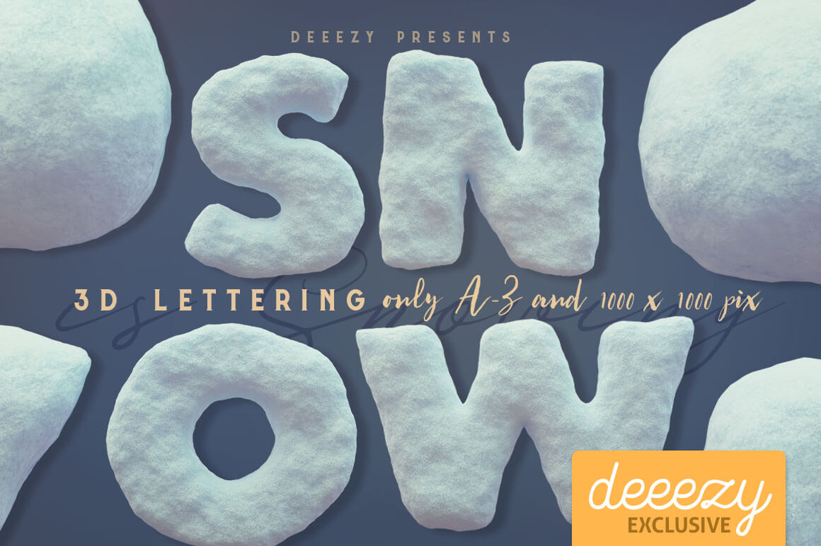 Snow Free 3D Lettering