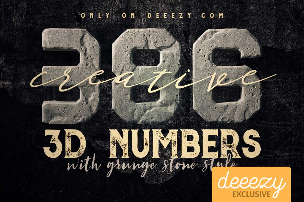 Grunge Stone 3D Numbers