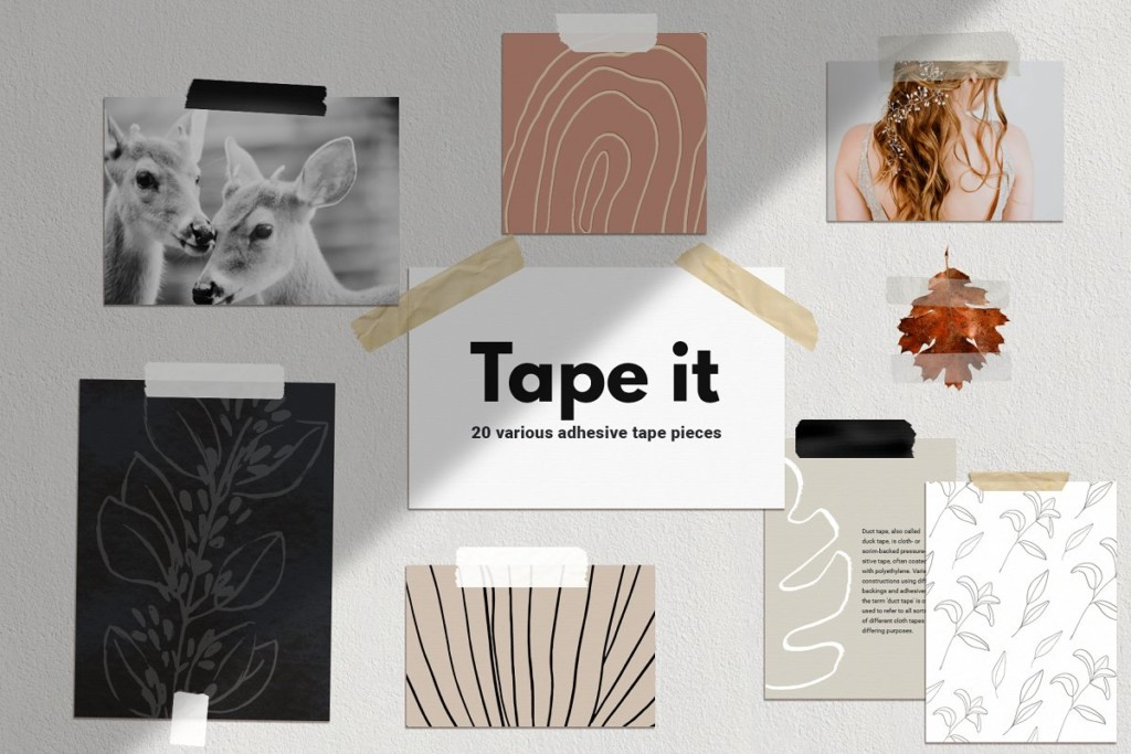 20 Adhesive Tape Pieces