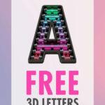Freebie Unique 3D Letters