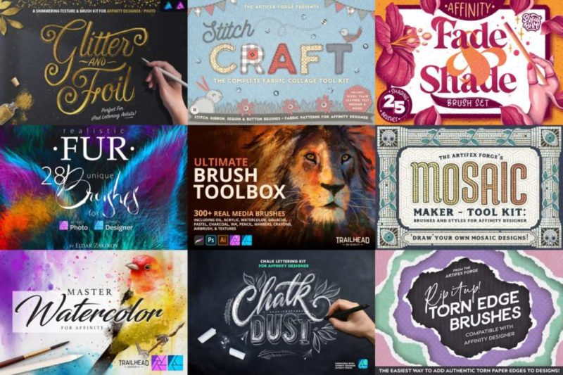 Very Best Affinity Brushes - Pen, Marker, Watercolor, Mosaic, Stitching